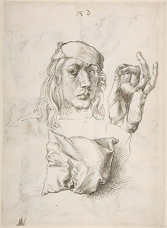 Self Portrait, Study of a Hand and a Pillow - Albrecht Dürer