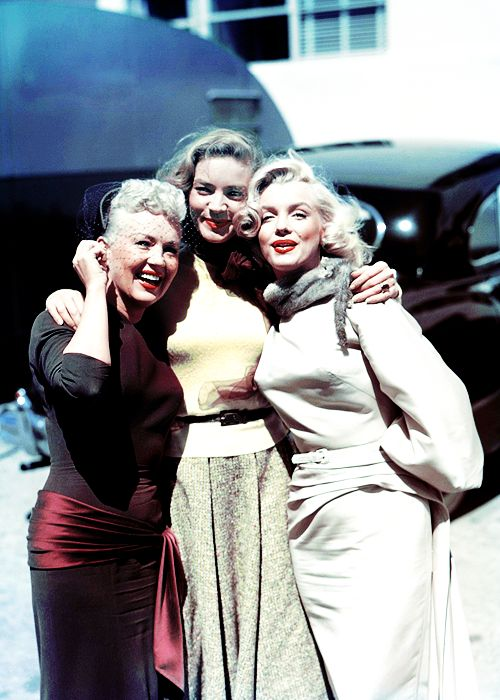 Betty Grable, Lauren Bacall, and Marilyn Monroe