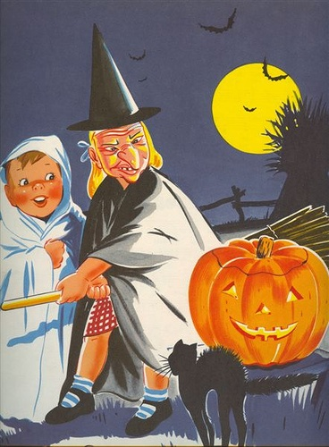 """A charming Erla Young Halloween illustration from """"My picture Book of Songs,"""" pub. 1947. #1940s #kids #vintage #Halloween"""