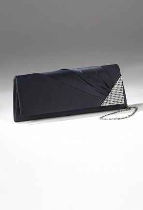 """This Sasha pleasted satin flap handbag with rhinestone edging features: • Satin handbag•Rhinestone brooch on right corner of flap•2""""Metal chain strap•Inner pocket"""