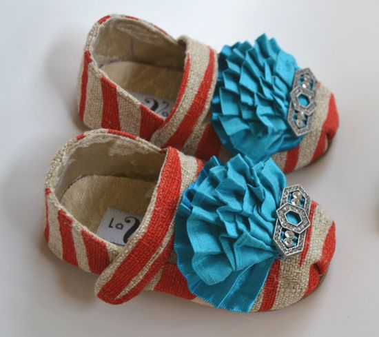 Red Zebra Vintage Style Baby Shoes