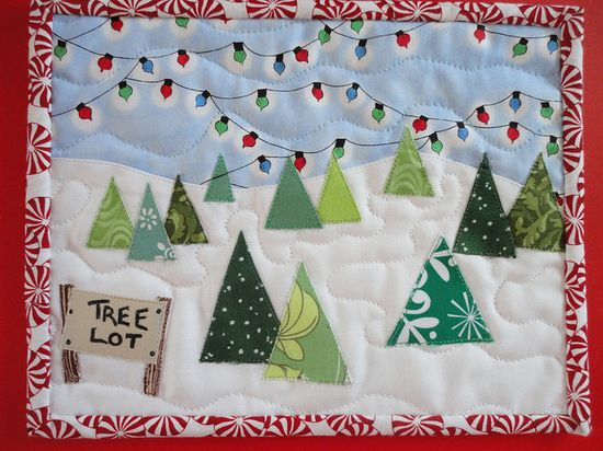 'Tree Lot' Christmas mug rug!  So cute.