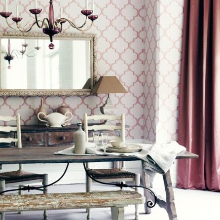 interior decor trend blush pink wallpaper