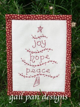 free redwork embroidery Christmas tree pattern