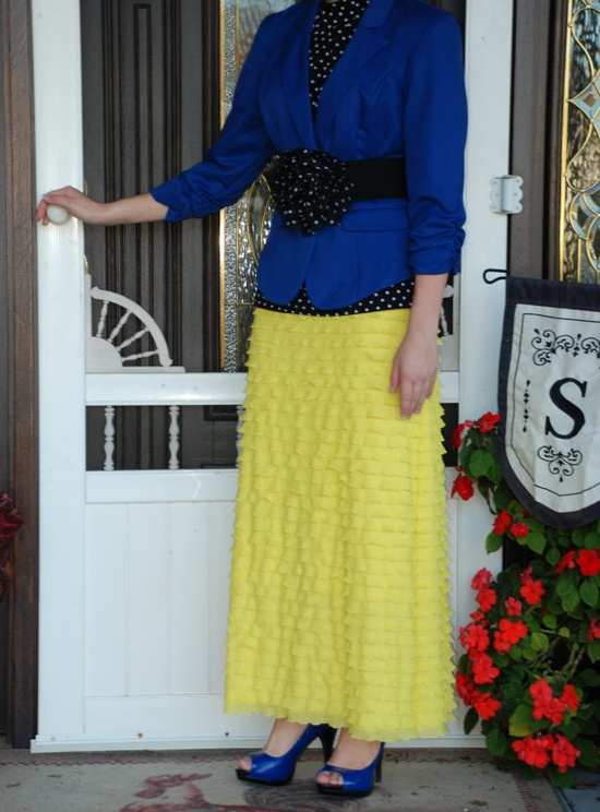 Custom Made Yellow Ruffle Maxi Skirt. Not sure if I like the blue and yellow together... but they're both cute!