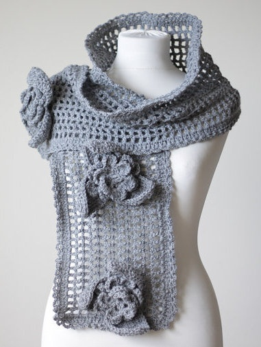 Grey Crochet Scarf Ice Queen, Beautiful unique large feminine grey gray flower lace shawl, Large neck warmer, handmade, Crochet Muffler