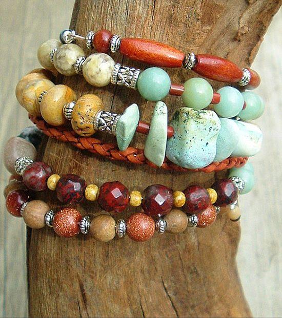 Boho Chunky Gemstone Bracelet Southwest Bracelet by BohoStyleMe