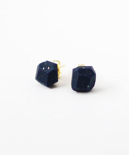 dark blue speckled geo earrings
