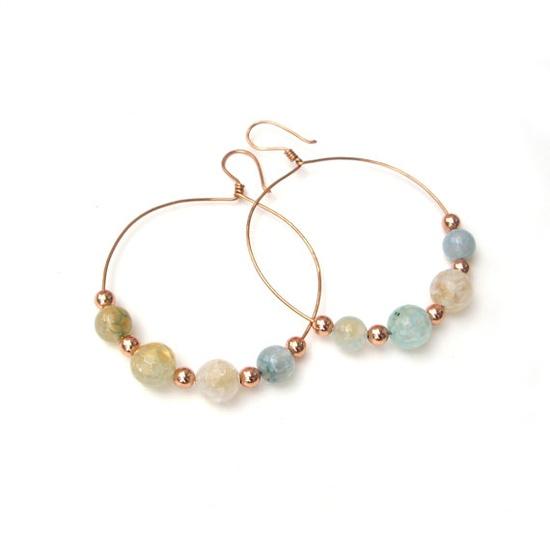Gemstone hoop earrings $25.00