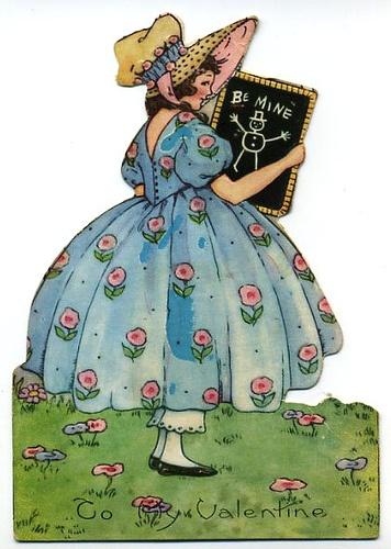 Valentine- Girl with Chalkboard- C. 1920