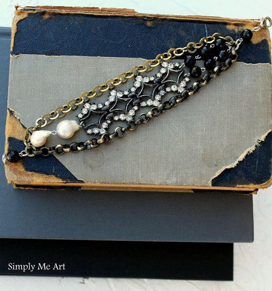 Vintage Rhinestone Baroque Pearl and Onyx Layered by simplymeart, $70.00