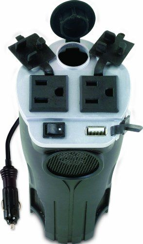 Love that this charger for everything fits in a cup holder in the car. Rally 7413 200W Cup Holder Power Inverter with USB Port
