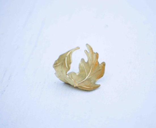 Golden LEAF Ring Romantic Vintage Style Leaf Autumn wedding -
