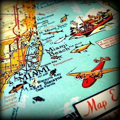 vintage map MIAMI BEACH retro