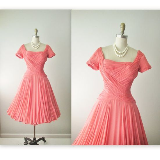 50's Ceil Chapman Chiffon Dress // Vintage 1950's Couture Ruched Salmon Chiffon Full Cocktail Party Dress S M