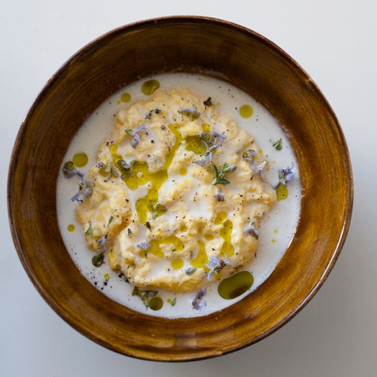 Poached Scrambled Eggs with Goat Cheese Sauce // More Great Egg Recipes: foodandwine.com/slideshows/eggs #foodandwine