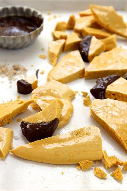 homemade honeycomb with dark chocolate and sea salt