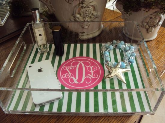 Love this PREPPY STRIPE HYPE tray! #bathroom decorating before and after