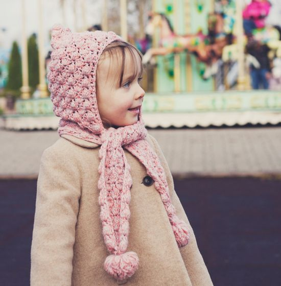 Hat and scarf Crochet PATTERN (pdf file) - Pom-pom scarf with hoodie (sizes baby to adult) SO cute!