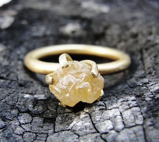 18K Gold Engagement Ring & Rough Diamond by AurumJewelry on Etsy