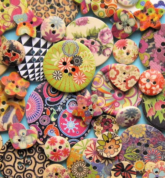 35 Painted Wooden Button Assortment Fabulous by BohemianFindings, $8.50