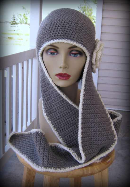 crochet hat with scarf.