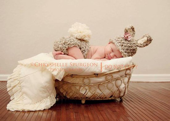 Crochet Newborn Bunny Hat and Diapercover Bunny by BabiesByHand, $45.00