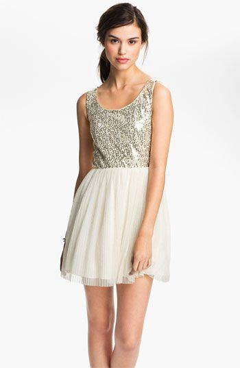 As U Wish Sequin Tulle Cutout Dress (Juniors) available at #Nordstrom