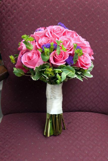 Bridal Bouquet in pinks , greens and purple