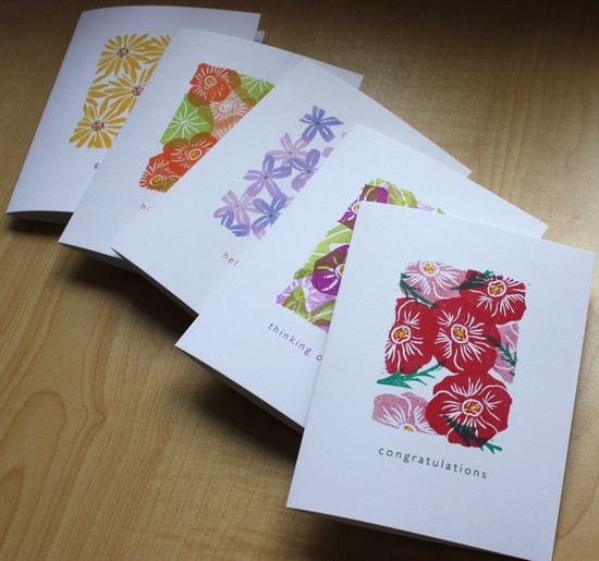 Thinking of You - Impatiens and Potato Vine - Handmade Greeting Card