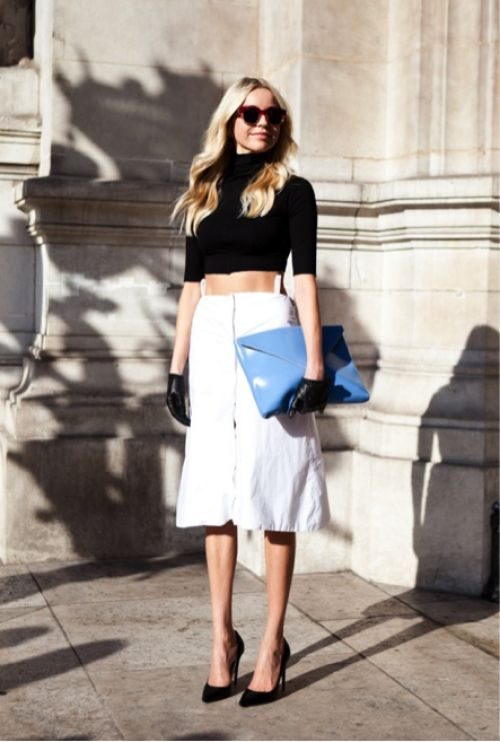 so polished and the midi skirt is perfection