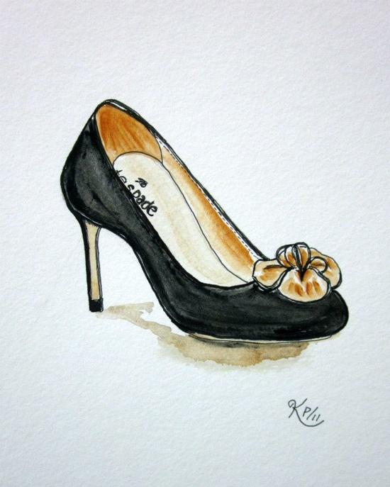 Fashion illustration:    Kate Spade 2011 original shoe sketch. $24.00, via Etsy.