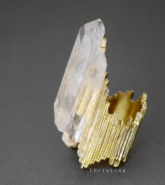 Sale SHARDS CRYSTAL GOLD Ring  Raw White by ChristinaRoseStudio, $51.00