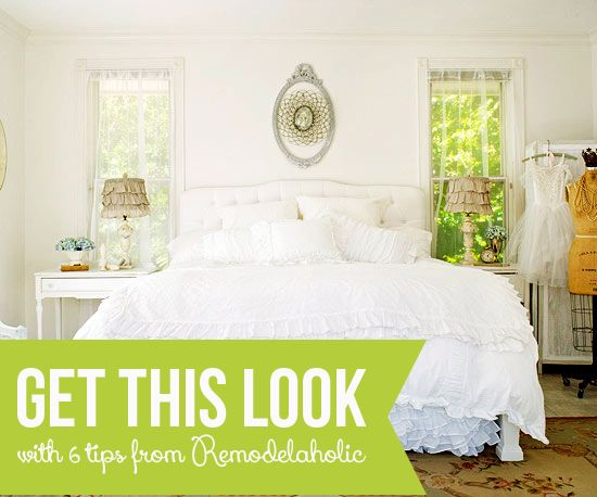 Get This Look - Tips for a Dreamy White Bedroom from Remodelaholic.com #getthislook #bedroom #decorating