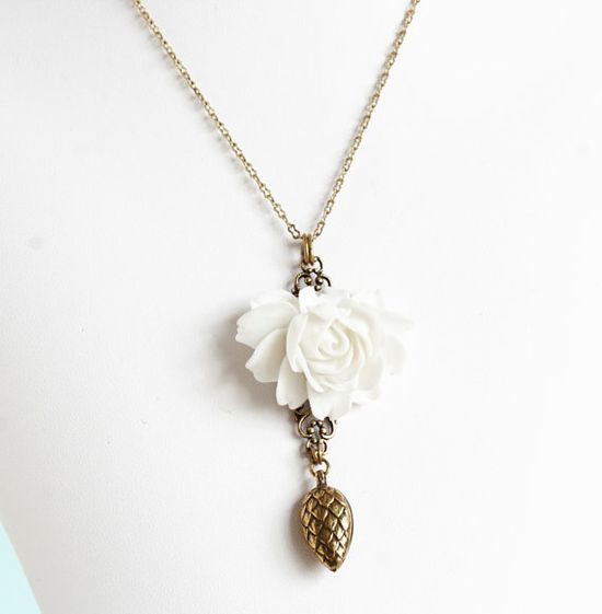 Statement Necklace White Rose Necklace Brass by JacarandaDesigns