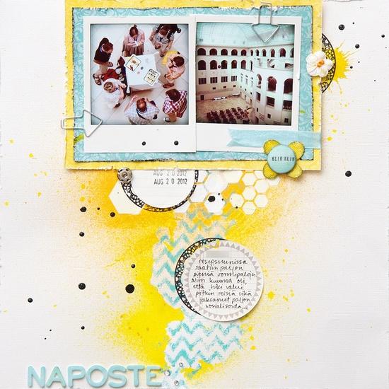 "Naposte by lehtipollo, via Flickr - using the Balzer Designs ""Hexagons"" stencil"