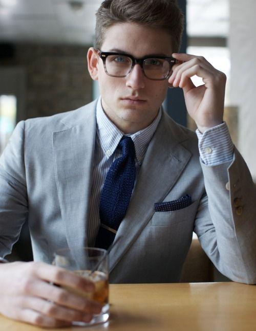 gray suit.