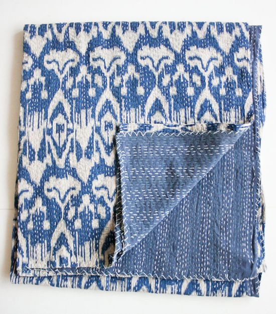 Ikat Quilt in Blue Queen Size by gypsya on Etsy, $128.00