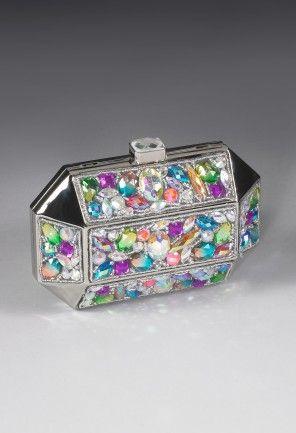 Handbags - Metal Box Handbag Clutch Bag with Gemstone from Camille La Vie and Group USA