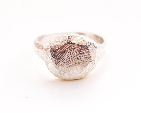Round Faceted Sterling Silver Women's Signet Ring by kerrieyeung, $165.00