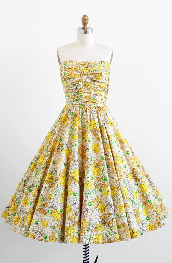 vintage 1950s yellow leaf print cotton party dress