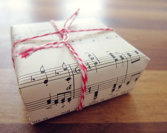 Christmas sheet music as wrapping paper.
