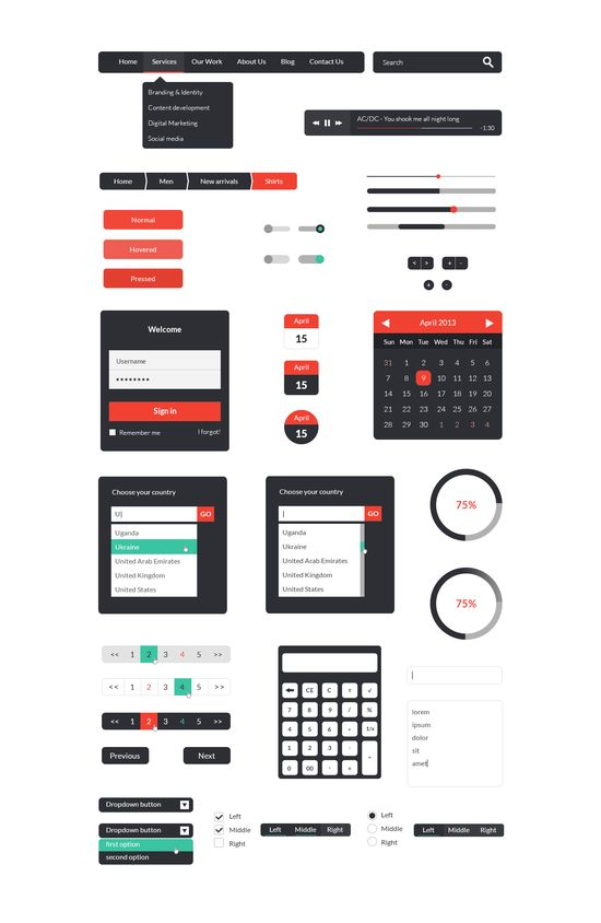 Free User Interface Kit  #free #freebie #ui #userinterface #flat #flatdesign #design #webdesign #clean #style