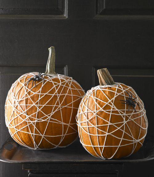 No Carve Pumpkin: Spider Web Pumpkins