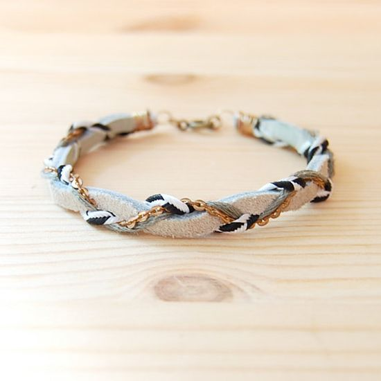 Bohemian Brass & Leather Bracelet in Black and White, Grey and Taupe $22.50