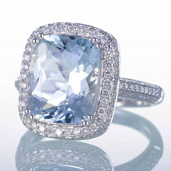 White Gold CUSHION Aquamarine Diamond Pave Halo Engagement Wedding Anniversary Cocktail Right Hand Ring. $2,800.00, via Etsy.