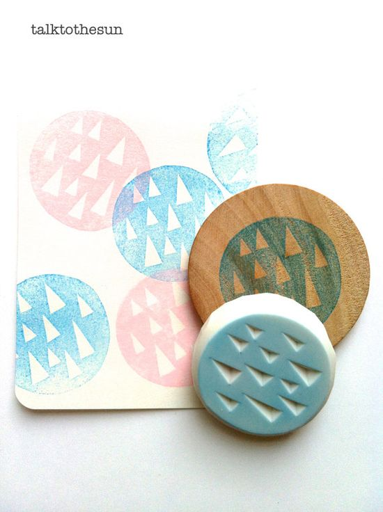 triangle rubber stamp circle rubber stamp. designed and hand carved by talktothesun. available at www.talktothesun....