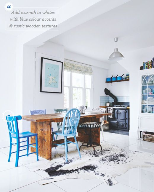 Add flashes of colour with painted blue chairs