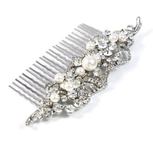 Nelly Wedding Hair Comb Accessories White Side by GlitzAndLove
