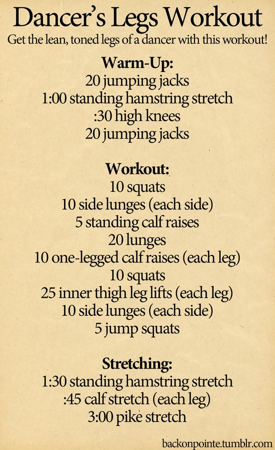 Dancer's Legs Workout. This looks a little easier than some I've seen!